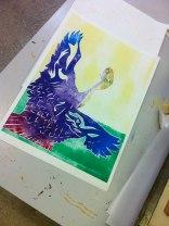 Monoprinted Bird, student's work