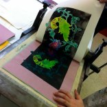 Monoprint with Yr 10 student
