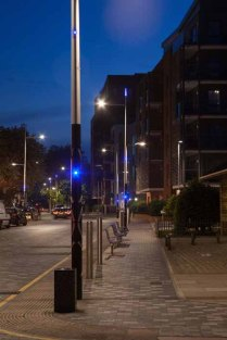St Paul's Way lamps at night