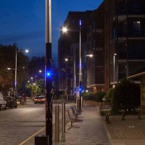 St Paul's Way lamps at night