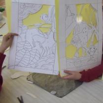 Handcut Stencils, school workshop