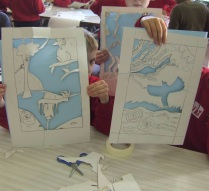 Handcut stencils in school workshop