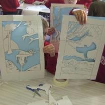 Handcut stencils in school workshop
